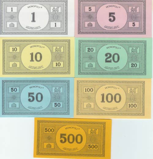 Billetes Monopoly Versión 7 (Parker Brothers 1985)