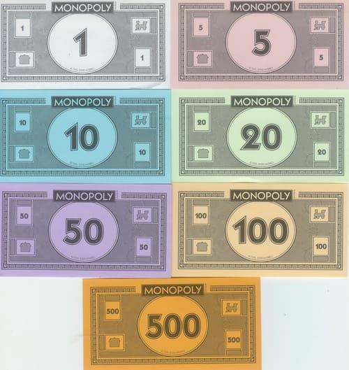 Billetes Monopoly Versión 9 (2008 Hasbro)
