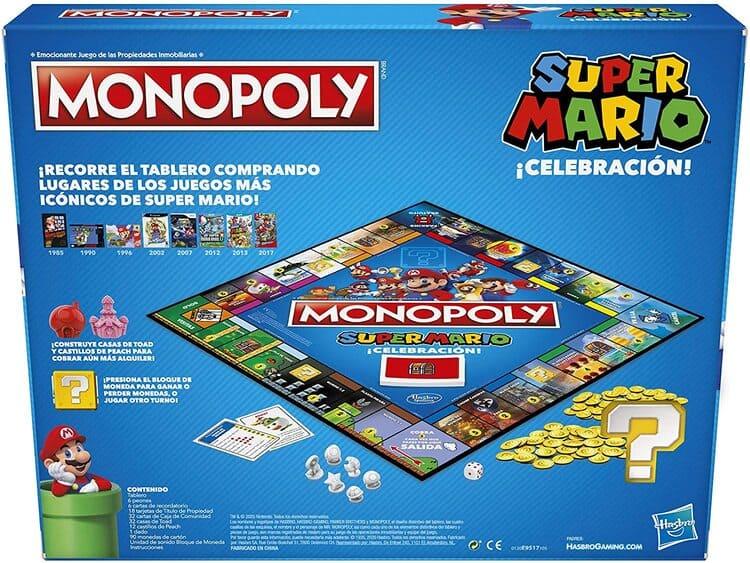 Monopoly super mario celebración reverso caja juego
