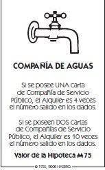 Monopoly tarjeta agua